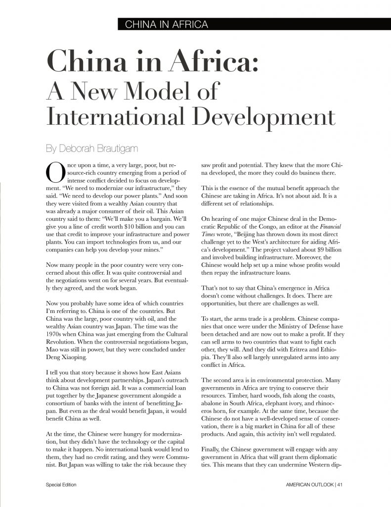 China in Africa articles from American Outlook Africa Rising Edition-01