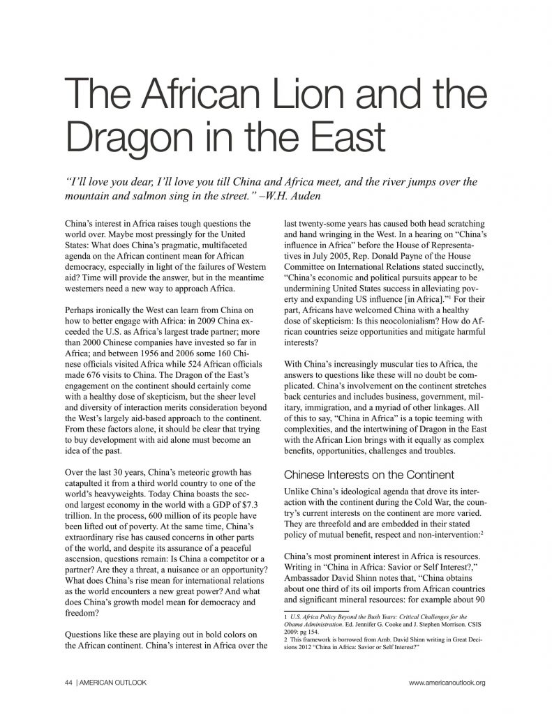 China in Africa articles from American Outlook Africa Rising Edition-04