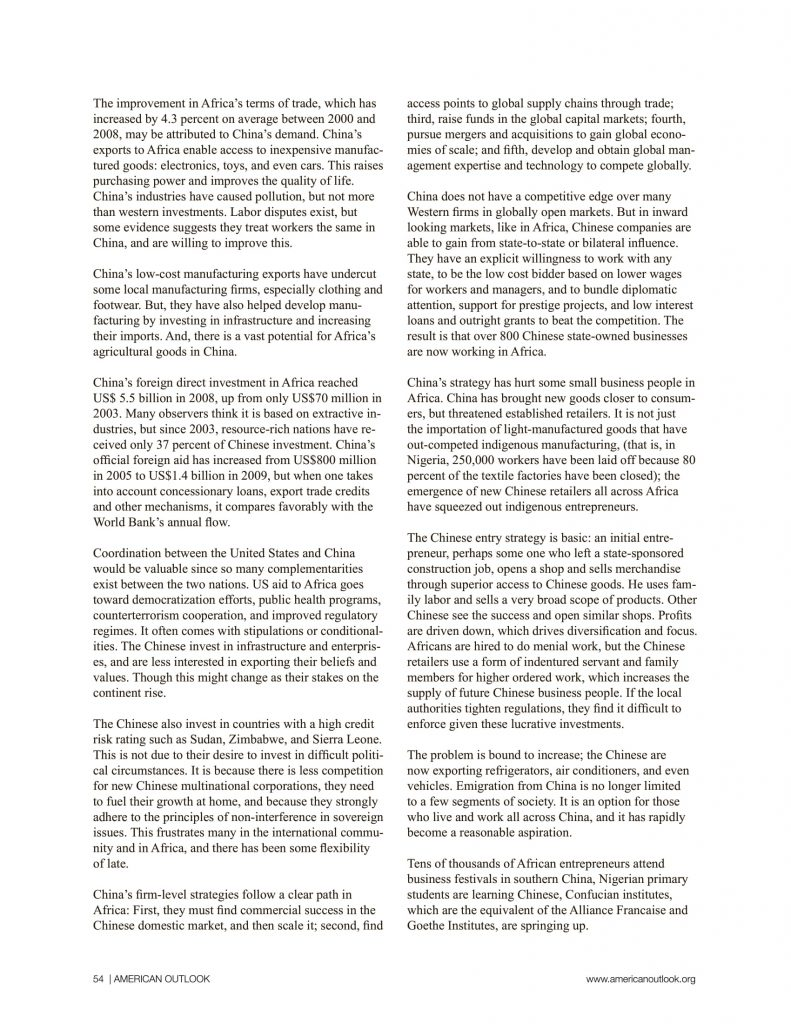 China in Africa articles from American Outlook Africa Rising Edition-14