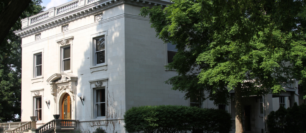 Built in 1905, the Italian Renaissance-style mansion may have been designed by the Indianapolis firm Rubush and Hunter, who designed Louis Levey's printing plant.