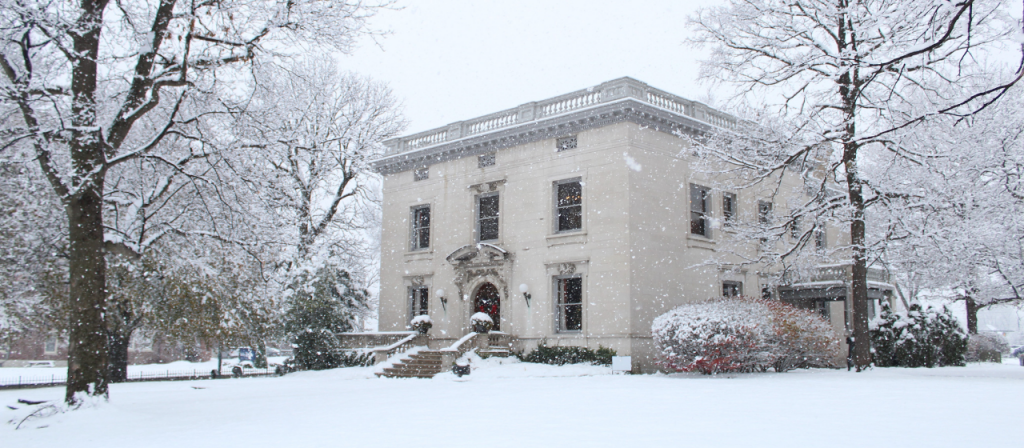 The Levey Mansion in the winter snow