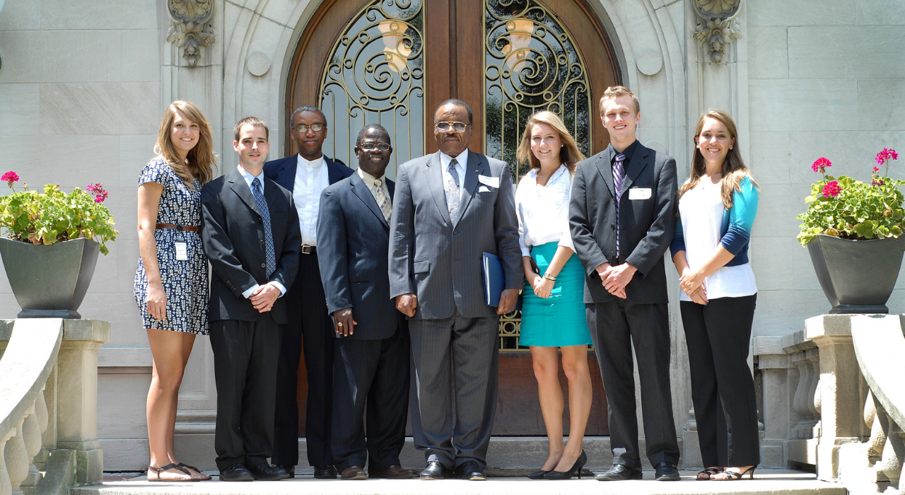Sagamore hosts an annual internship program.  The 2011 summer class is pictured here with the Liberia's ambassador to the US.