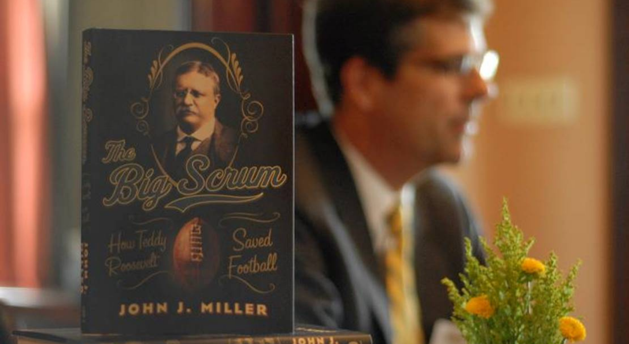John Miller delivered remarks at Levey on his book describing how Teddy Roosevelt Saved Football.