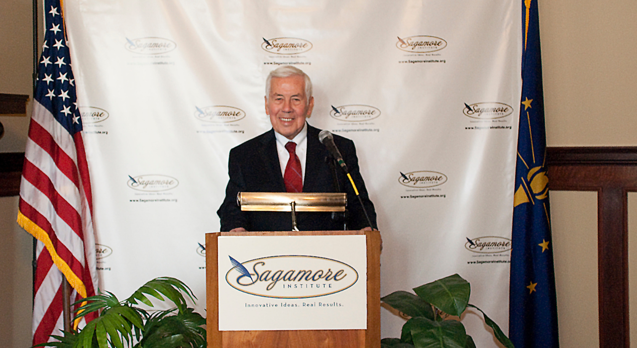US Sen. Richard Lugar delivered remarks during the release of Sagamore's Indiana-Africa Connections Project, a database that lists more than 250 Indiana individuals and organizations who regularly engage with sub-Saharan Africa.