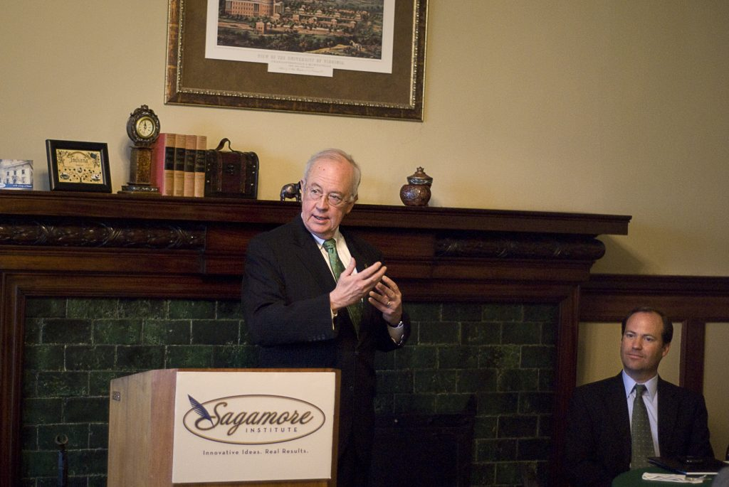 Sagamore Institute hosted Judge Ken Starr, President of Baylor University, for a breakfast reception. Starr delivered his speech with the guidance of a pocket-sized copy of the US constitution, which each member in the audience received.