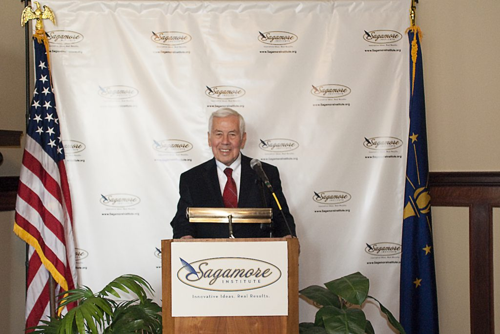 Sen. Richard Lugar honored Sagamore's unveiling of it's Indiana-Africa Connections Project, a database that lists more than 250 Indiana individuals and organizations who regularly engage with sub-Saharan Africa.
