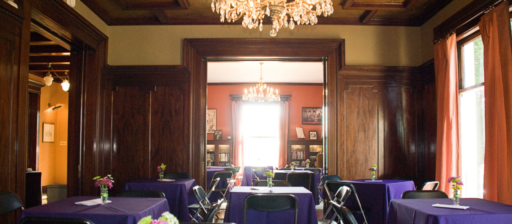 The dining room and library decorated for an event at Levey.